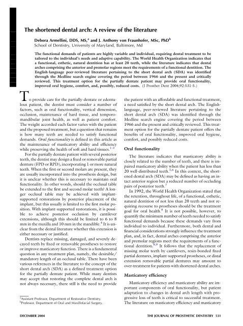 The Shortened Dental Arch A Review Of The Literature