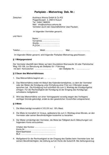 Muster Mietvertrag Stellplatz Autohaus Arkona