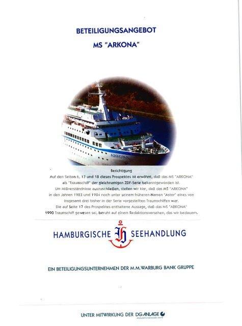 """beteiligungsangebot ms """"arkona - Hamburgische Seehandlung"""