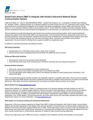 DealerTrack Arkona DMS To Integrate with ... - Shareholder.com