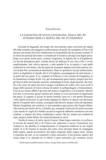 La leggenda di Santa Guglielma, figlia del re - EPA - Országos ...