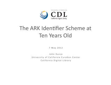 The ARK Identifier Scheme at Ten Years Old - RatSWD