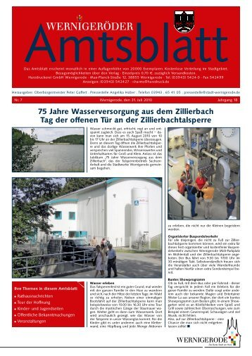 75 Jahre Wasserversorgung aus dem Zillierbach Tag der offenen ...