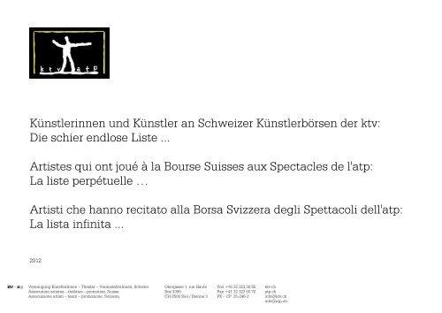 Künstlerinnen und Künstler an Schweizer Künstlerbörsen der ...