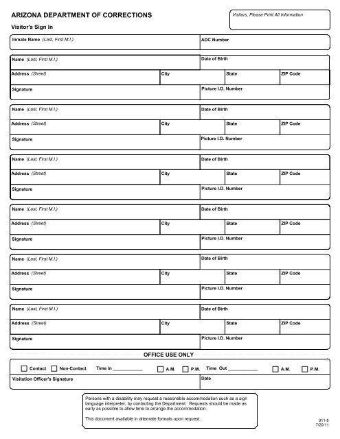 Visitor's Sign In Sheet - Arizona Department of Corrections