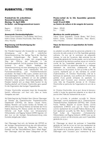RUBRIKTITEL / TITRE - SVTB-ASTT