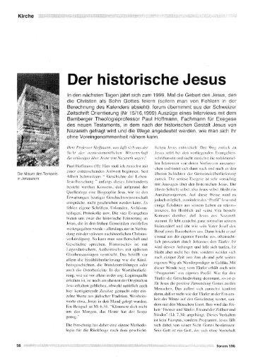 Der historische Jesus - Forum