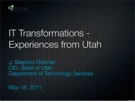 J. Stephen Fletcher CIO, State of Utah Department of Technology ...