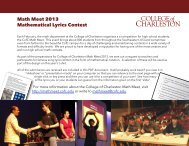 College of Charleston Math Meet 2013 / Mathematical Lyrics Contest