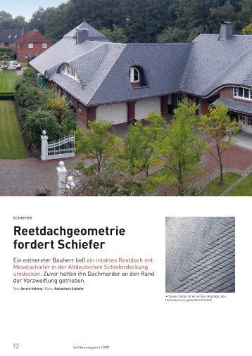 Reetdachgeometrie fordert Schiefer - Prange GmbH