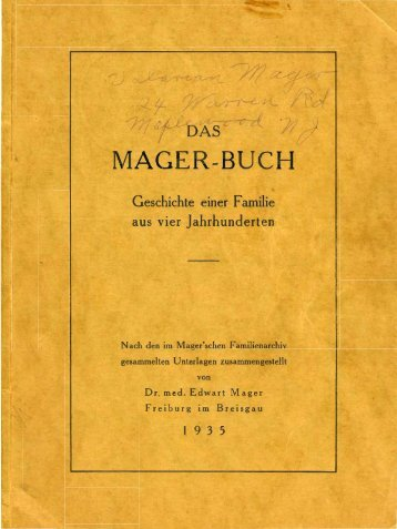 mager-buch - Zellner Family Genealogy