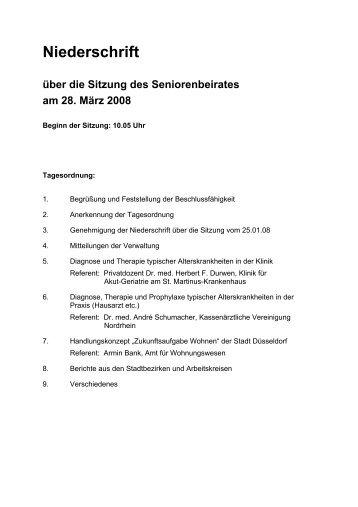 Niederschrift über die Sitzung des ... - Stadt Düsseldorf