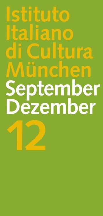Kulturprogramm September-Dezember 2012 - Istituto Italiano di ...