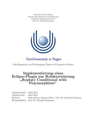 Replace Conditional with Polymorphism - FernUniversität in Hagen