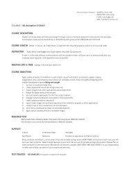 syllaBus | 2D Animation II CA253 Course DesCrIptIon ... - Kelley, Kathy