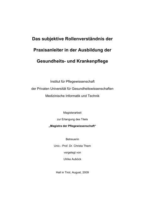 Das Subjektive Rollenverstandnis Der Praxisanleiter In Der Ogkv