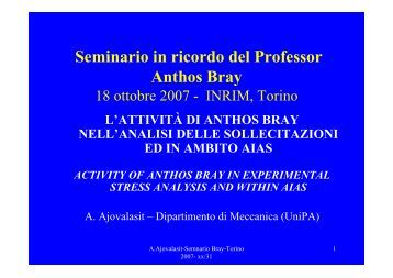 Seminario in ricordo del Professor Anthos Bray - inrim