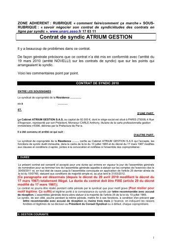 Contrat de syndic ATRIUM GESTION - Union nationale des ...