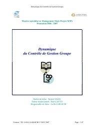 Dynamique du Contrôle de Gestion Groupe - CRI