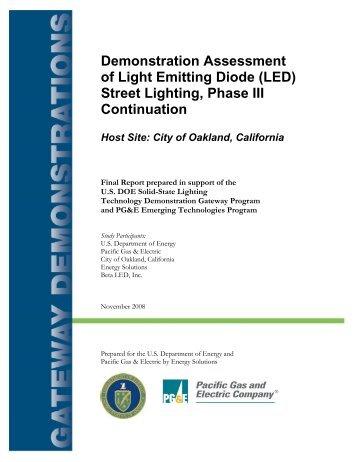LED Street Lighting, City of Oakland - EERE - U.S. Department of ...