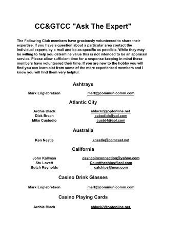 Ask The Expert - Casino Chip & Gaming Tokens Collectors Club