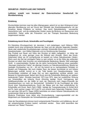 DEKUBITUS - PROPHYLAXE UND THERAPIE Leitlinien ... - AWA