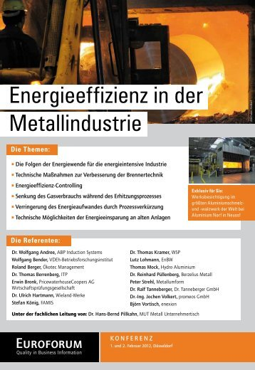 Energieeffizienz in der Metallindustrie - Euroforum