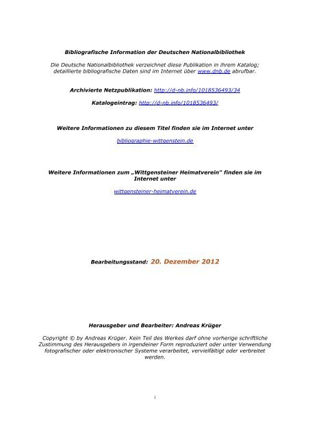 Bibliographie Wittgenstein - Wittgensteiner Heimatverein e.V.
