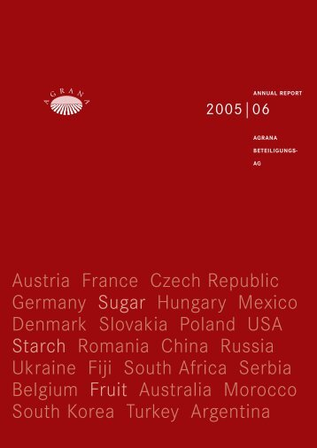 Austria France Czech Republic Germany Sugar Hungary ... - Agrana