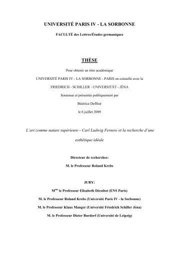 UNIVERSITÉ PARIS IV - LA SORBONNE THÈSE