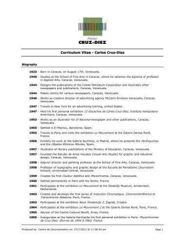 CV en inglés - Carlos Cruz-Diez