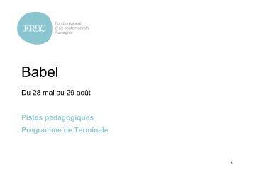 Babel - Programme de terminale - FRAC Auvergne