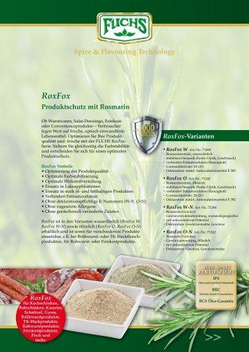 RoxFox Produktschutz mit Rosmarin Spice ... - fuchsspice.com