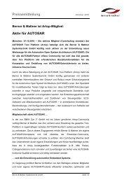 Pressemitteilung Aktiv für AUTOSAR - Berner & Mattner
