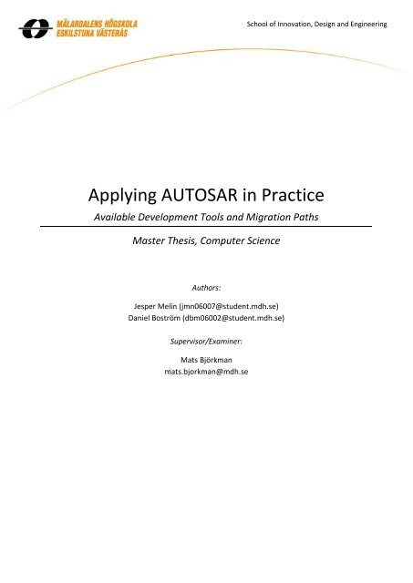 Available Development Tools and Migration Paths Master Thesis