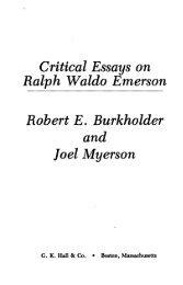 Critical Essays on Ralph Waldo Emerson Robert E ... - Index of