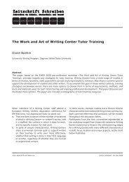 The Work and Art of Writing Center Tutor Training - Zeitschrift ...