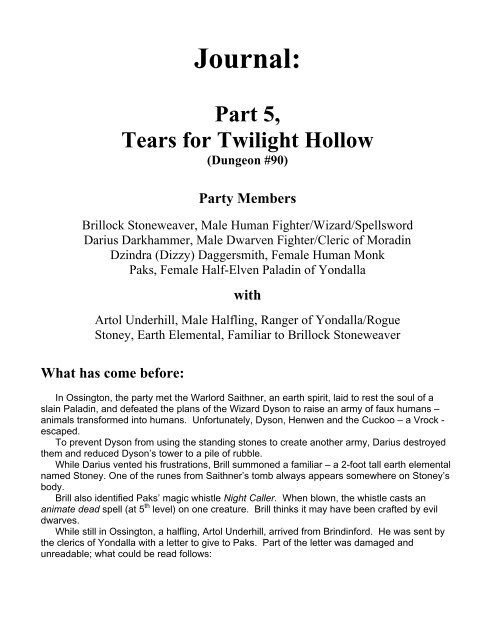 Journal Part 5 Tears For Twilight Hollow Dungeon 90 Dnd Home