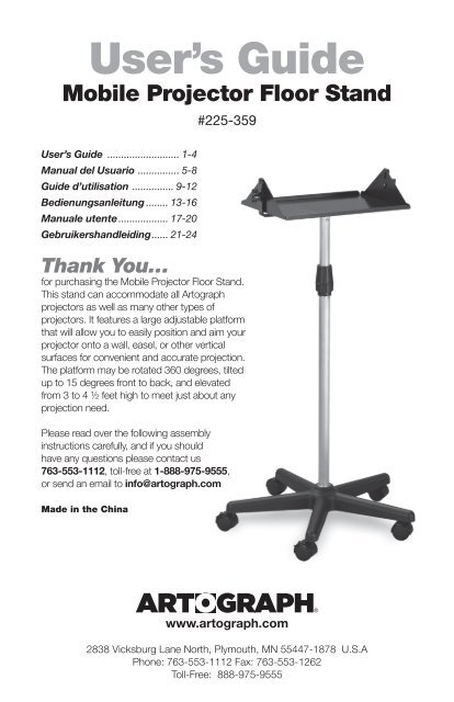 Artograph 225-359 Mobile Projector Floor Stand