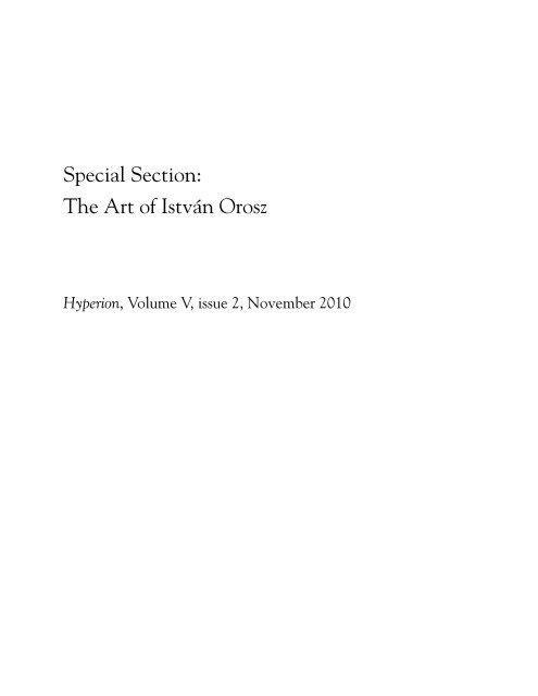 Special Section: The Art of István Orosz - Nietzsche Circle