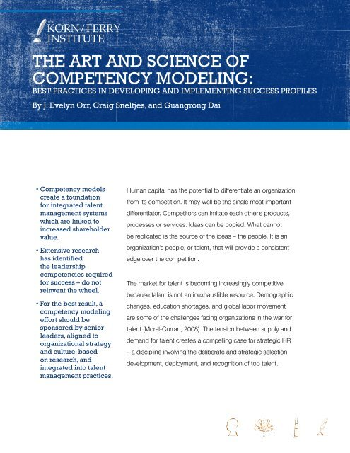 The ArT And Science Of CompeTency Modeling Lominger