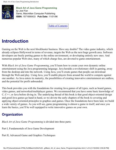 Black Art of Java Game Programming:Introduction