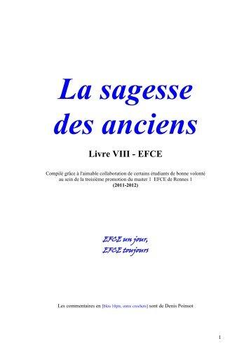 La sagesse des anciens Livre VIII - EFCE - Université de Rennes 1