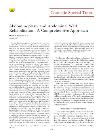 Cosmetic Special Topic Abdominoplasty and Abdominal Wall ...