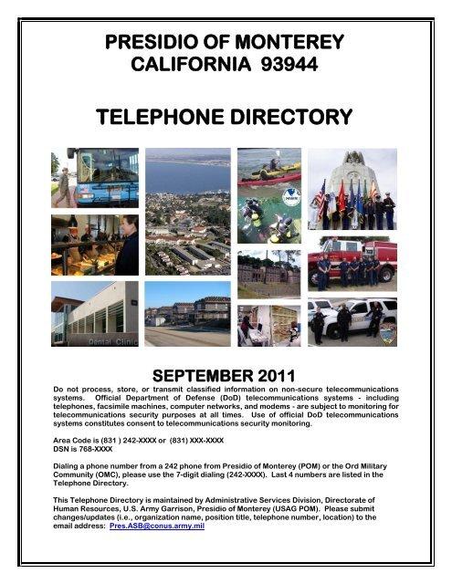 TELEPHONE DIRECTORY - Presidio of Monterey - U.S. Army