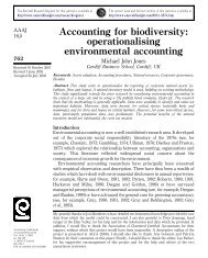 Accounting for biodiversity - School of Business Administration