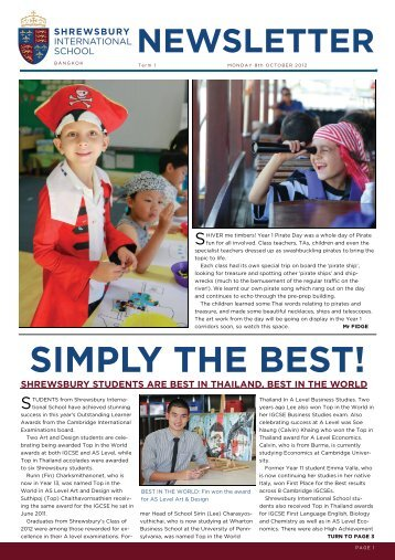 SIMPLY THE BEST! - Shrewsbury International School
