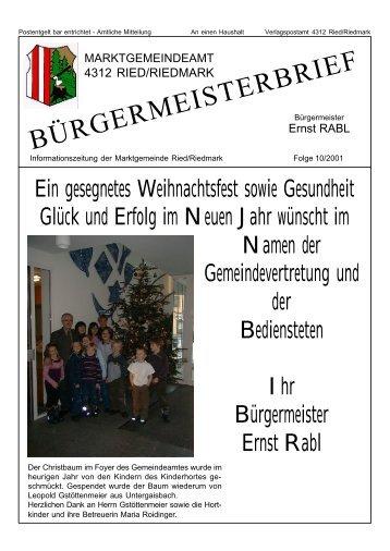 BÜRGERMEISTERBRIEF - Ried in der Riedmark