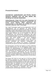 Presseinformation mechatronic systemtechnik und ProTec Carrier ...