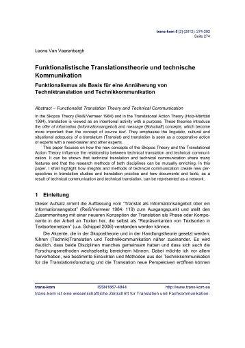 Funktionalistische Translationstheorie und technische Kommunikation